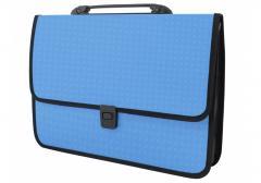 Portfolio plastic A4 Economix on a fastener, 1 office, Vyshivank's invoice, blue
