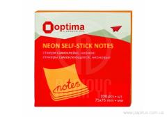 Optima stickers, 75x75, orange neon, 100 l.