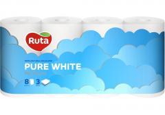 Бумага туалетная 3 слоя Ruta Pure White 8...