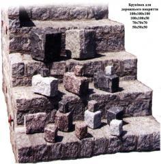 Stone of a stone blocks granite for pavings