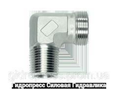 Угловое трубное соединение резьба конусная, без накидной гайки и врезного кольца, Нержавеющая сталь Rubrik 8.87