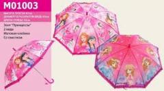 Зонт M01003, 100шт, принцессы, 2 вида, мат.клеёнка, со свистком, 67см