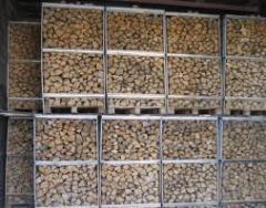 Firewood ashen in pallets, oak firewood, birch