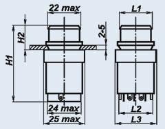 Кнопочный переключатель П2П1Т-1БВ