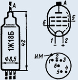 Лампа пальчиковая 1Ж18Б