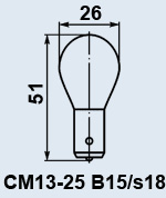 Лампа самолетная СМ-13-25 B15s/18
