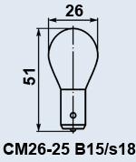 Лампа самолетная СМ-26-25 B15s/18