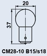 Лампа самолетная СМ-28-10 B15s/18