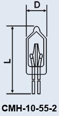 Лампа сверхминиатюрная СМН-10-55-2