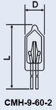 Лампа сверхминиатюрная СМН-9-60-2