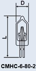 Лампа сверхминиатюрная СМНС-6-80-2