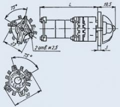 Малогабаритный галетный переключатель П2Г3-3П8Н