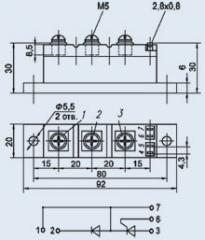 Модуль диодно-тиристорный МДТ4-80-12