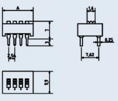 Переключатель движковый ВДМ1-4