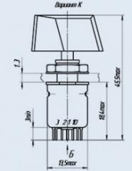 Переключатель малогабаритный поворотный ПР2-2П4НВК