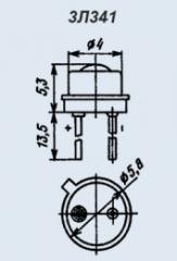 Светоизлучающий диод 3Л341Г-1