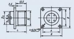 Соединитель низкочастотный цилиндрический 2РМ14Б4Ш1В1