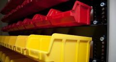 Стеллажи для метизов, пластиковые ящики