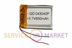 Литий-полимерный аккумулятор GD 043040P 3,7V 650 mAh 30x40mm , артикул 14776