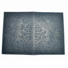 Обложка на паспорт (натур. кожа, темно-синяя)