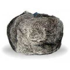 Cap with ear-flaps from a rabbit, gray 10000038