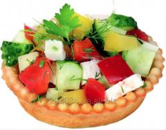 Tartlet, weight of 16 g, from shortcake dough for filling by different fillers: salads, pastes, pastes, creams