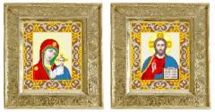 Wedding couple. The house iconostasis embroidered