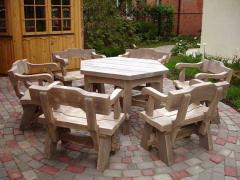 Canopies, tables, benches, arbors, furniture for