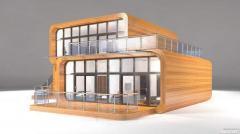 Drewniany dom gnutokleenogo belki