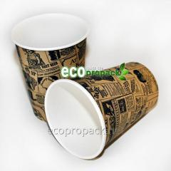 Paper glass of 250 ml newspaper