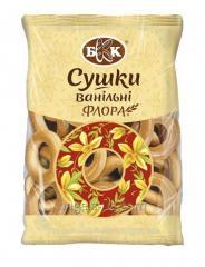 Сушки ванильные «Флора». Весовые - 7,5 кг., в гофротаре. Изготовлены из сладкого пшеничного теста с глянцевой и гладкой поверхностью.