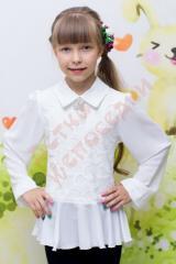 Блузка школьная длинный рукав для девочки Брошь из