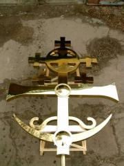 Cross with a dusting nitride of the titan for orthodox church