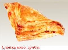 Слойка мясо, грибы замороженная
