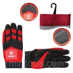 Перчатка Microfiber тканевая красная с черными вставками спандекса на ладони утолщенное неопреном 10 SP-0143