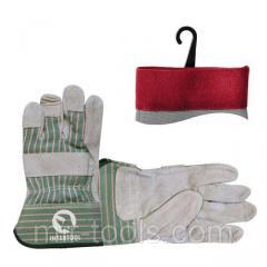 Перчатка замшевая из цельного материала с коттоновыми вставками 10,5 , манжет обрезиненный INTERTOOL SP-0151