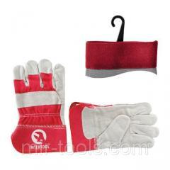 Перчатка замшевая из цельного материала с красными коттоновыми вставками 10.5 , манжет обрезиненный SP-0152W