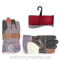 Перчатка комбинированная из кожи и ткани 10.5 (ящик 120 пар) INTERTOOL SP-0004W Intertool