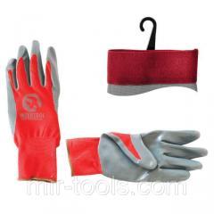 Перчатка красная вязанная синтетическая, покрытая серым нитрилом на ладони 10 INTERTOOL SP-0124 Int