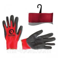 Перчатка красная вязанная синтетическая, покрытая серым пористым нитрилом на ладони 10 INTERTOOL SP SP-0127