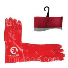 Перчатка маслостойкая х/б трикотаж покрытая PVC, 35 см (красная) INTERTOOL SP-0007 Intertool