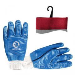 Перчатка маслостойкая х/б трикотаж покрытая нитрилом c вязаным манжетом 10,5 (синяя) INTERTOOL SP-0 SP-0137