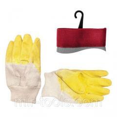 Перчатка стекольщика тканевая покрытая рифленым латексом на ладони (желтая) INTERTOOL SP-0002 Intert