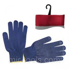 Перчатка трикотажная акриловая покрыта PVC точкой на ладони 9 (синяя) INTERTOOL SP-0132 Intertool