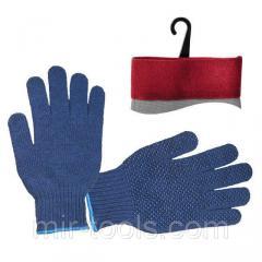 Перчатка трикотажная синтетическая 9 с покрытием PVC точкой на ладони (синяя) INTERTOOL SP-0104 Int