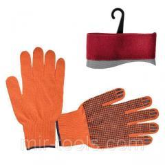 Перчатка х/б трикотаж с точечным покрытием PVC на ладони (оранжевая) INTERTOOL SP-0131 Intertool