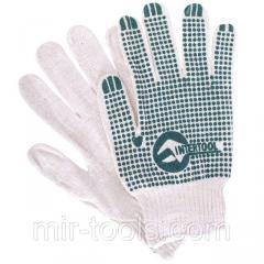 Перчатка хлопчатобумажная трикотажная с резиновым вкраплением с одной стороны (ПВХ зеленая) INTERTOO SP-0133