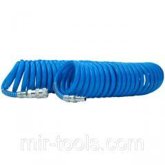 Шланг спиральный полиуретановый 6,5х10 мм, 15 м с быстроразъемными соединениями INTERTOOL PT-1712 In