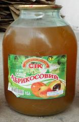 Juice apricot wholesale, bank glass, 3 l