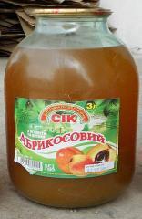 Juice apricot wholesale, bank glass, 3 l